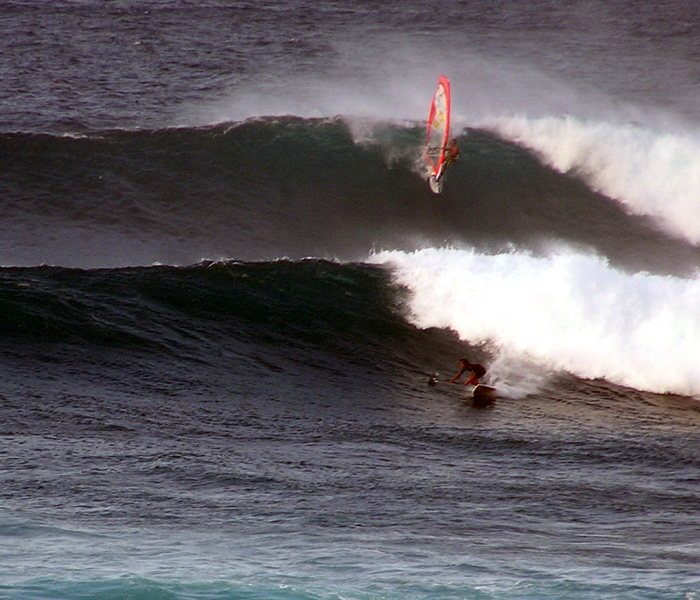 Robbie Swift sailing and Kai Lenny SUP <br> Photo: Olaf Mitchell
