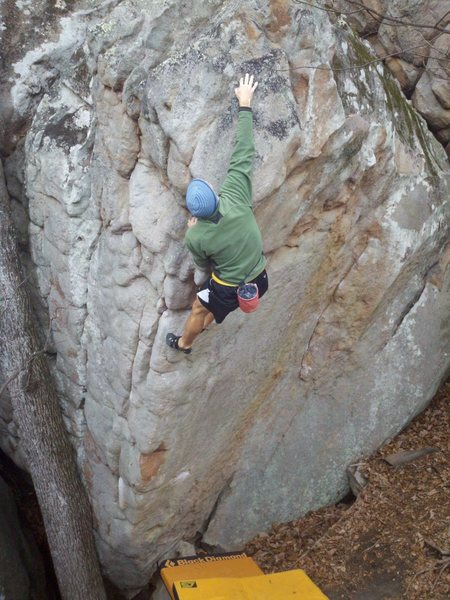 Rock Climbing Photo: Destroyer. Big moves high above the slab.
