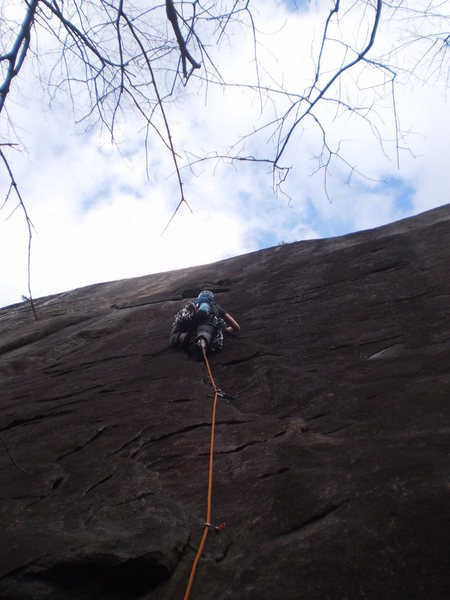 Rock Climbing Photo: Mary moving up into the steep crux section on her ...