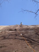 Rock Climbing Photo: Mary finding the path through the wandering slab. ...