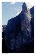 Rock Climbing Photo: S. face of Huatun Ullock.  Karma climbs the crack ...