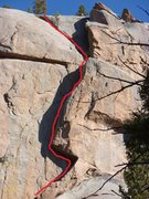 Rock Climbing Photo: The route traverses left out the roof and follows ...