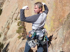 Rock Climbing Photo: A hard, hard man with way too much gear!