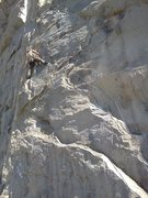 A look at Whammy Play from the bottom up.  Just below the crux move.