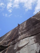 Rock Climbing Photo: Finishing up P1 of Dinkus.  The book makes the sta...