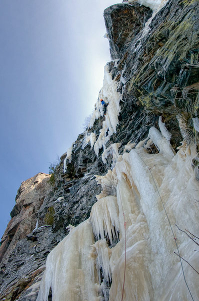 Just past the crux. Traversing onto the ice column. Photo: Nate Erickson.