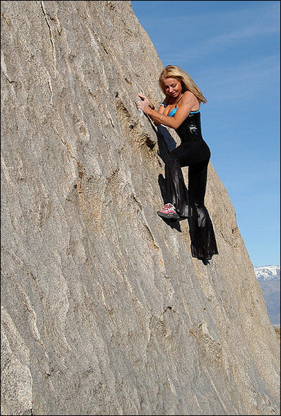 Rock Climbing Photo: Jona Price. Over dressed at the Buttermilks. Photo...