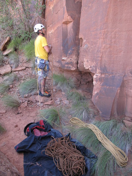 Rock Climbing Photo: trying to figure out another FA. i hit the ground ...
