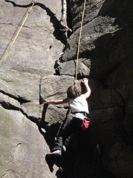 Rock Climbing Photo: my son on easily flakey