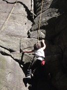 Rock Climbing Photo: my son on easily flakey