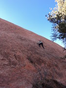 Rock Climbing Photo: Around the 1st bolt, the rock is a bit slick and s...