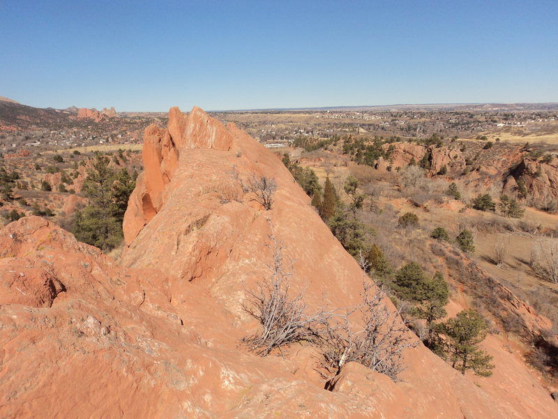 From the top of In the Way, looking north towards Garden of the Gods with a unknown climber on The Whale.