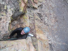 Rock Climbing Photo: Kevin P. coming out the roof to pitch two.   Super...