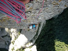 Rock Climbing Photo: Shirley nearing the top of pitch 5 of the Punsola-...