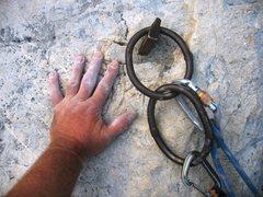 Rock Climbing Photo: Large rappel/belay anchor atop Fessura del Bonjo