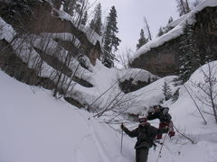 Rock Climbing Photo: Vail, CO Golf Course chute.  The snow patch behind...