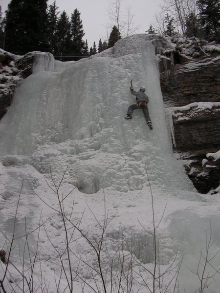 This was a low snow year so we were forced to ice climb.  Racquet Court chute Vail, CO