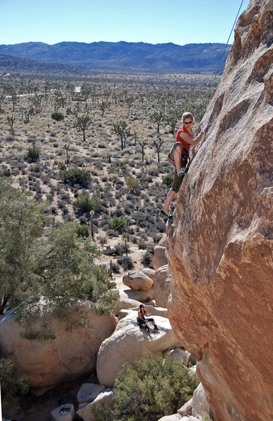 First place we climbed at J-Tree. Not sure what the rocks were called- but super fun! This is me on a 5-9 I think. There is a really fun 5-11 over where the photographer is standing.  What is this  rock called?