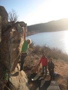 Rock Climbing Photo: Jordan reaches for the sky.