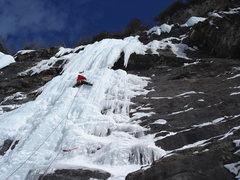 Rock Climbing Photo: Emile Mennin headed up to the cave belay