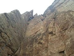 My daughter Mia Aguon when she was age 6 topping out at the anchor (she'll be 11 in August and almost climbing that)!!  <br /> <br />&quot;Crynoid Corner&quot; (5.7 at Shelf Road Canon City, CO) <br />
