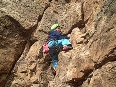 Another photo of my daughter Mia Aguon at age 6, about to kick it into high gear! <br /> <br />&quot;Crynoid Corner&quot; (5.7 at Shelf Road Canon City, CO) <br />