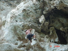 Rock Climbing Photo: Drew Spaulding and the bizarre features on the Roo...