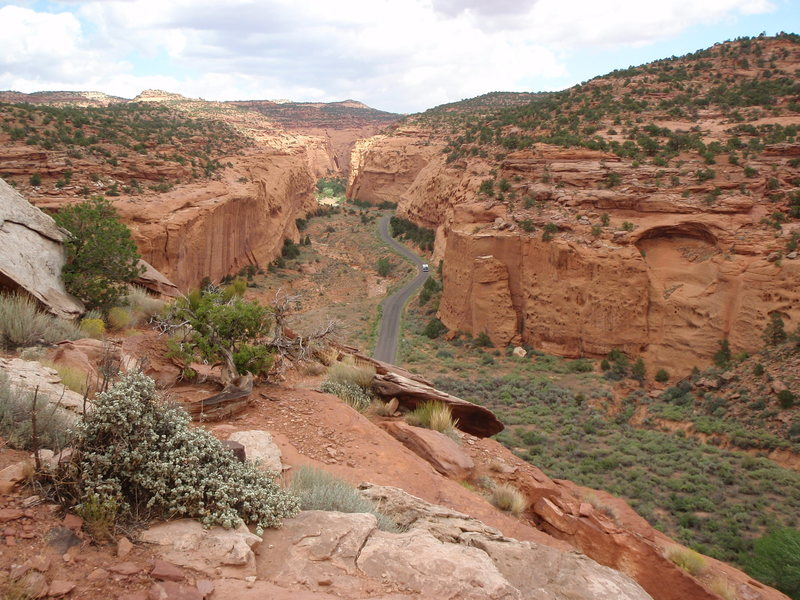 Looking down Burr Trail and, further, into Long's Canyon