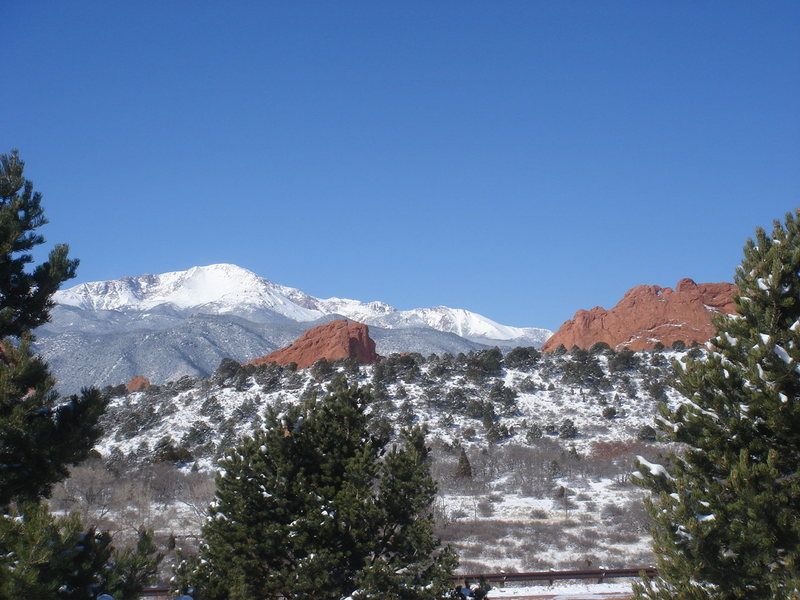 Pikes Peak and sandstone from the visitor's center, Garden of the Gods.