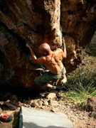 Rock Climbing Photo: Robert Slingsby 2 moves in to Rubber Walrus protec...