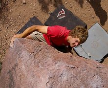 Rock Climbing Photo: Adam on the finishing moves of Pressure drop.(Phot...