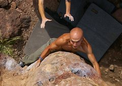 Rock Climbing Photo: Top down view of Robert Slingsby sending Rubber Wa...