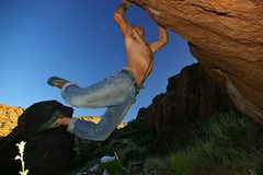Rock Climbing Photo: Robert Slingsby sticking the jump to the right sid...