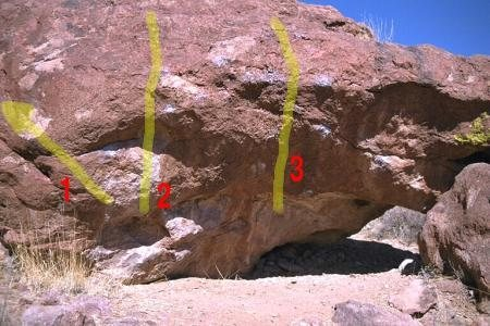 The South face of Heavy Metal Boulder. 1 Mesquite Variation.2 Judas Priest.3 Eric Scully.(photo: bob broilo)