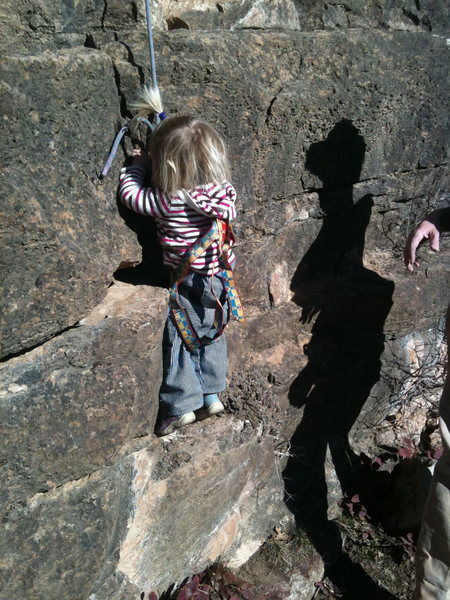 Rock Climbing Photo: Selah, 22 months, climbing at the Pup Tent of Soli...