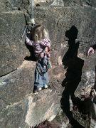 Rock Climbing Photo: Selah, 22 months, climbing at the Pup Tent of Soli...