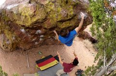 Rock Climbing Photo: Sockhands having executed the crux on Burning Spea...