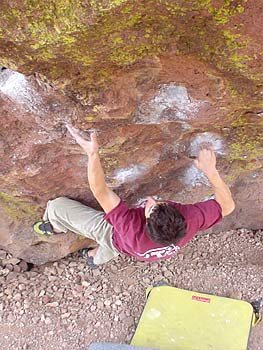 Rock Climbing Photo: Marcelo Montalva doing the 2nd move on Jah Lives i...