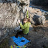 Star climbing on U boulder, Mitake.