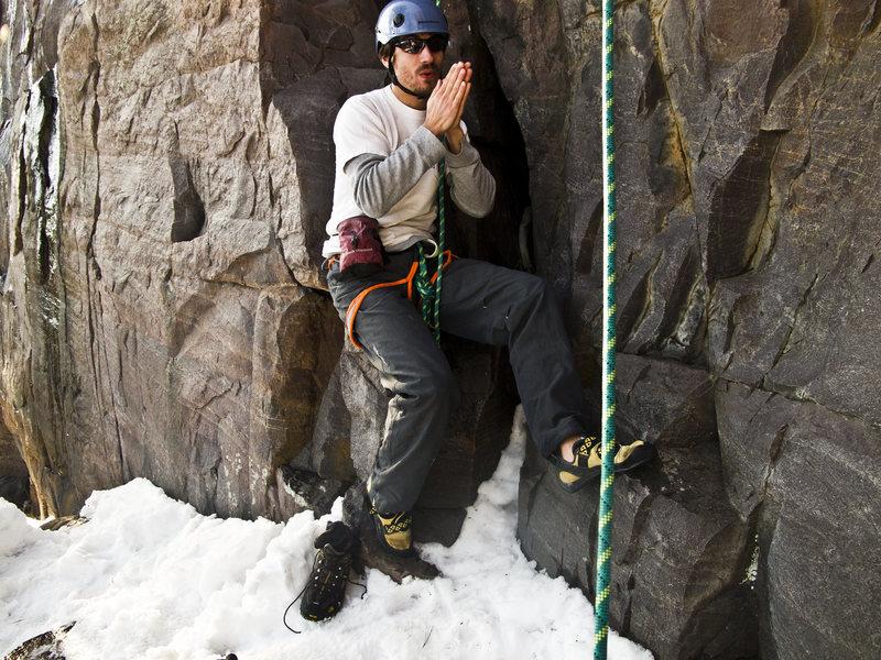 Rock Climbing Photo: Leo warming up before working Birch Tree Crack in ...
