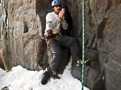 Rock Climbing Photo: Leo warming up before working Birch Tree Crack in ...