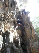Rock Climbing Photo: Near the top of the stem section.  Route moves lef...
