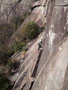 Rock Climbing Photo: Jp working through the steep slab.
