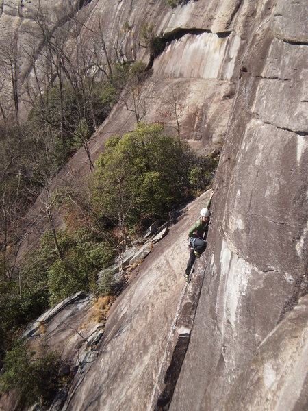 Rock Climbing Photo: Jp in the steep and sustained 5.8 section.