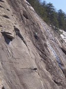 Rock Climbing Photo: Jp on the upper section of Zodiac