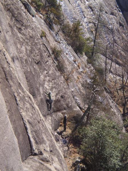 Rock Climbing Photo: Jp starting up Zodiac with Elena at belay.