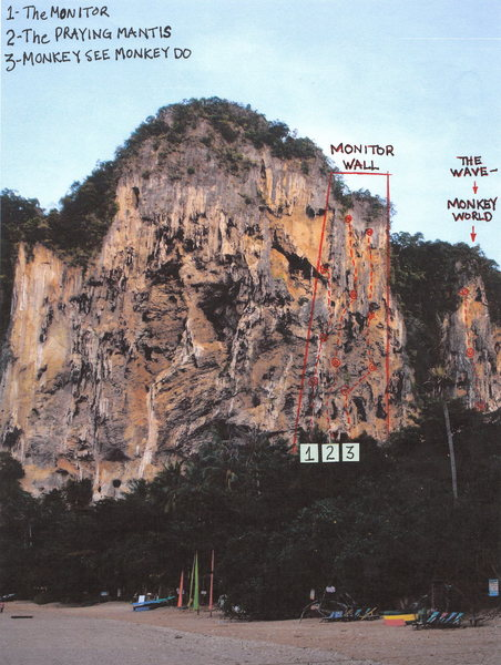 The Sleeping Indian Wall with The Monitor Wall highlighted on the right side. Note The Wave is on the Monkey World Wall