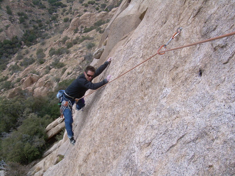 Rock Climbing Photo: The moves to the last bolt on pitch 1 are not triv...