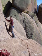 Rock Climbing Photo: After the 4th pitch, move the belay to the right a...