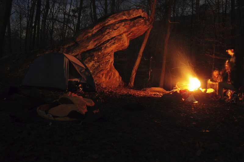 camping out by a fun boulder